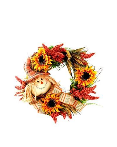 Creative Displays Scarecrow & Hydrangea Wreath, Yellow/Orange/Green