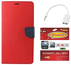 Tidel Premium Table Talk Fancy Diary Wallet Flip Cover Case for Lenovo A7000 (Red) With Tidel Screen Guard & Audio Spliter