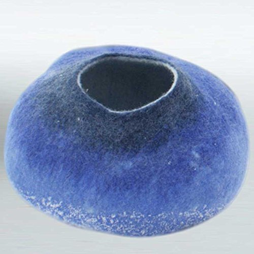 100% Felted Wool Blue Cat Bed/Cave/Igloo/House/Home Pet Gear (Small) front-84347