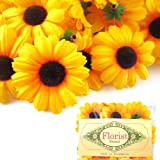 "(24) Silk Yellow Sunflower Gerbera Daisy Flower Heads , Gerber Daisies - 1.75"" - Artificial Flowers Heads Fabric Floral Supplies Wholesale Lot for Wedding Flowers Accessories Make Bridal Hair Clips Headbands Dress"