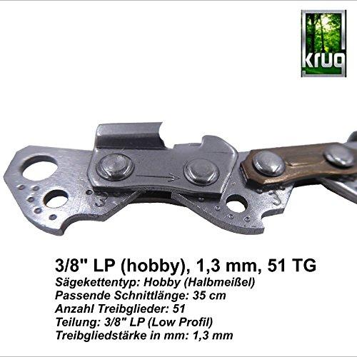 Sgekette-KRUG-35cm-Teilung-38-PLP-Treibgliedstrke-13mm-51-Treibglieder-fr-35cm-Schwert-kompatibel-fr-Stihl-Motorsgen-VIBRATIONSARMBELASTBARHOHE-SCHNITTLEISTUNG-Ausfhrung-Low-Profil-Hobby-Halbmeiel-Pro