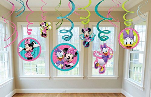 Diseny Minnie Mouse Party Foil Hanging Swirl Decorations / Spiral Ornaments (12 PCS)- Party Supply, Party Decorations