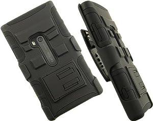 [Buy World] for Nokia Lumia 920 Black Armor Case, w/ Black Belt Clip & Black Stand