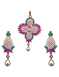 Gehna Pearl, Ruby Marquise & Emerald Round Stone Studded Pendant & Earrings Set