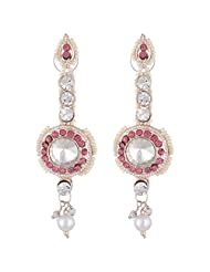Bel-en-teno White & Pink Alloy Earring Set For Women