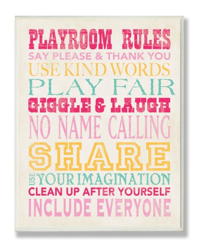 The Kids Room by Stupell Playroom Rules Typography in Pinks, Yellow and Blue Rectangle Wall Plaque