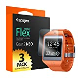 Spigen® [Gear 2 NEO] [Full Coverage] Samsung Gear 2 NEO Screen Protector Clear [Flex] [3-Pack] Clear Screen Protector Flexible Wet Screen Protector for Samsung Gear 2 NEO (2014) - Flex (SGP10837)