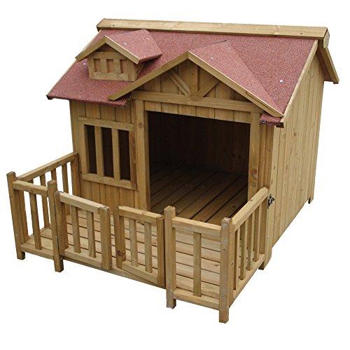 Hikenn Hundehütte Luxus Hundehaus Holz XL Balkon Terrasse