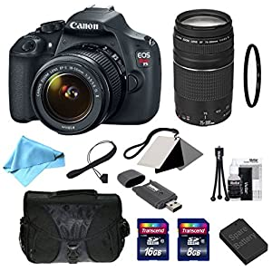 Canon EOS Rebel T5 Digital SLR with EF-S 18-55mm f/3.5-5.6 IS II Standard Zoom Lens + EF 75-300mm f/4-5.6 III Telephoto Zoom Lens + 11-Piece Deluxe Accessory Bundle (99916)