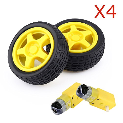 ZJchao Arduino Plastic Tire Wheel with DC 3V 5V 6v Gear Motor For DIY Robot Smart Car Robot (Robot Dc Motor compare prices)