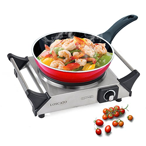 LOSCATO 1500W Portable Electric Cast Iron Cooktop Countertop Burner (Single Burner) (Electric Single Stove compare prices)