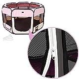 TecTake® Welpenlaufstall Tierlaufstall pink für Kleintiere wie Hunde, Hasen, Katzen -