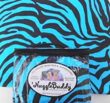 """'Nugglebuddy Microwaveable Moist Heat & Aromatherapy Organic Rice Pack. """"Teal & Black Zebra"""" Fabric With Lavender & Lemongrass Aromatherapy. See Over 100 Additional 'Nugglebuddy Selections By Searching For Nugglebuddy Under """"All Departments."""""""