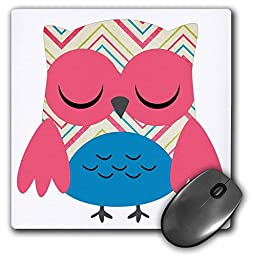 3dRose LLC 8 x 8 x 0.25 Inches Mouse Pad, Cute Pink Chevron Striped Owl (mp_61019_1)