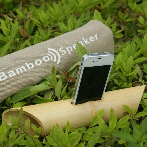 This bamboo iPhone speaker naturally amplifies your iPhone's sounds without electricity.