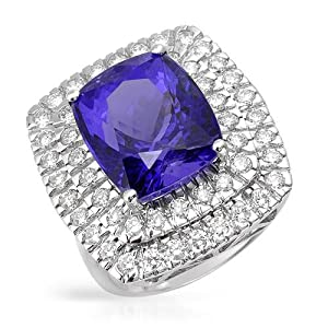 Cocktail Ring With 11.67ctw Precious Stones - Genuine Clean Diamonds and Tanzanite in 18K White Gold. Total item weight 10.4g (Size 6)