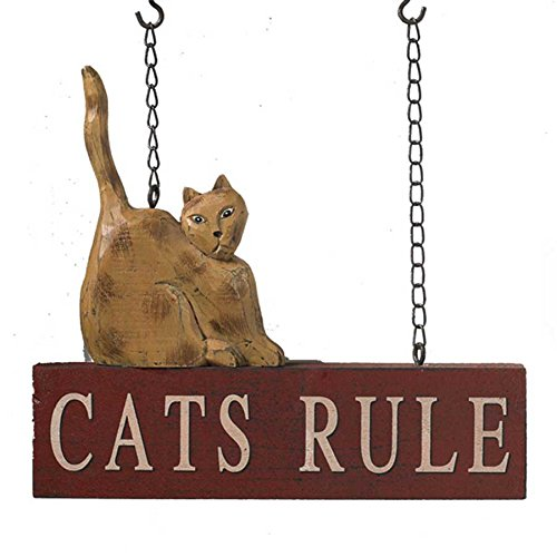 Cats Rule Hanging Sign - Decorative Plaque for Arrow Hanger