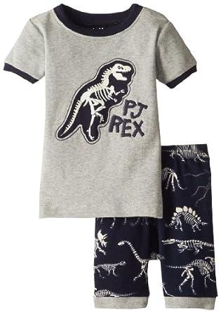 Hatley Little Boys' Short Pajama Sleep Set Dino Bones Pajama Rex, Grey, 2T