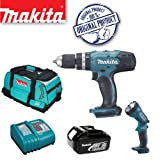 MAKITA BHP453Z 18V LXT Lithium-Ion Combi Hammer Drill (Bare Unit) Plus BML185 14.4/18v Lithium-Ion Fluorescent Light Plus 18V BL1830 Batteries & DC18RC/2 Charger with Tool Bag (831278-2)