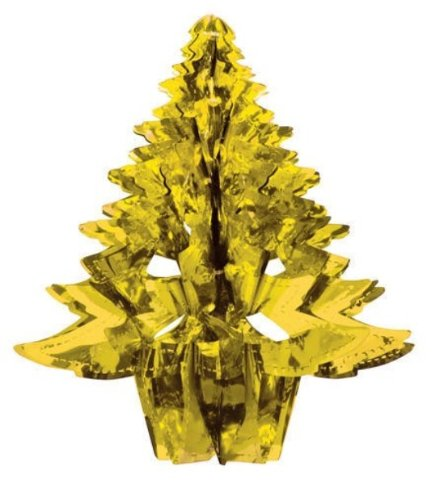 "Creative Converting Glitz Gold Hanging Décor 16"" Dimensional Christmas Tree"