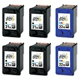 4x HP 21XL Black & 2x 22XL Colour High Capacity Remanufactured Ink Cartridges (More ink than HP 21 & 22 standard capacity) For Hewlett Packard Deskjet F370 F375 F380 F390 3920 3940 D1360 D1460 D1470 D1560 D2330 D2360 D2430 D2460 F2180 F2187 F2280 F2290 F