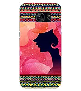 PrintDhaba Girl Face Cut D-4622 Back Case Cover for SAMSUNG GALAXY S7 (Multi-Coloured)