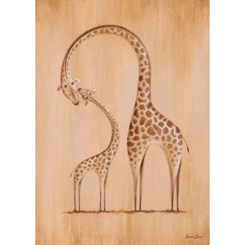 Oopsy daisy Fine Art for Kids Safari Kisses Giraffe Stretched Canvas Art by Sarah Lowe 10 by 14-Inch