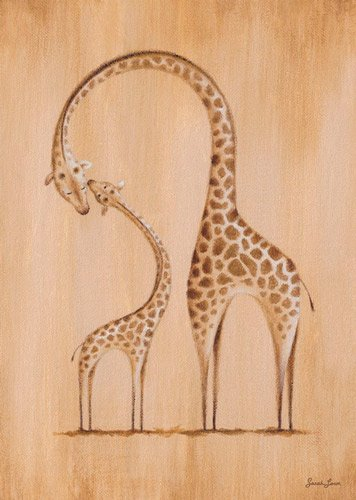 Oopsy daisy, Fine Art for Kids Safari Kisses Giraffe Stretched Canvas Art by Sarah Lowe, 10 by 14-Inch