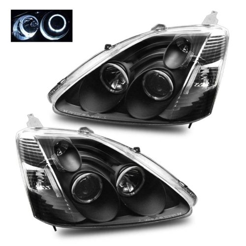 SPPC Projector Headlights Halo Black For Honda Civic 3 Door - (Pair) (2002 Civic Si Rims compare prices)