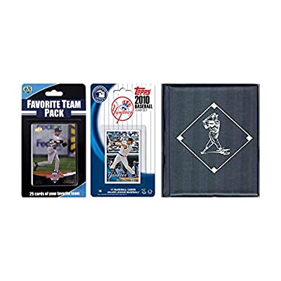 MLB New York Yankees Licensed 2010 Topps Team Set and Favorite Player Trading Cards Plus Storage Album