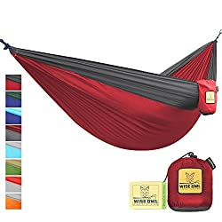 FLASH SALE The Ultimate Single Double Camping Hammocks- The Best Quality Camp Gear For Backpacking Camping Survival Travel- Portable Lightweight Parachute Nylon Ropes and Carabiners Included SO Crimson Red & Charcoal Grey SingleOwl
