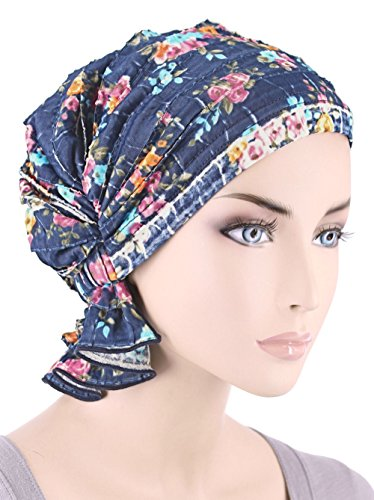 Abbey Cap ® Women's Chemo Hat Beanie Scarf Turban Headwear for Cancer Ruffle Blue Floral (Cancer Head Caps compare prices)