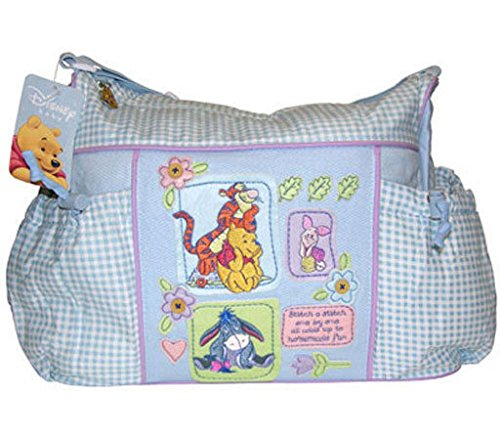 Large Disney Winnie the Pooh Baby Blue Gingham Diaper Bag - 1