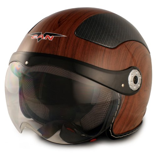 VCAN V528 Milano Wood Large European Style Open Face Helmet
