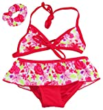 Number One Girls Floral Skirted Bikini and Hair Tie Swim Suit Set