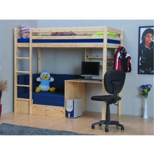 thuka hochbett 90x200 kiefer massiv bett kinderbett g stebett schreibtisch. Black Bedroom Furniture Sets. Home Design Ideas