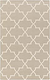 Gray Wool Rug Contemporary Design 5-Foot x 8-Foot Hand-Made Lattice Carpet