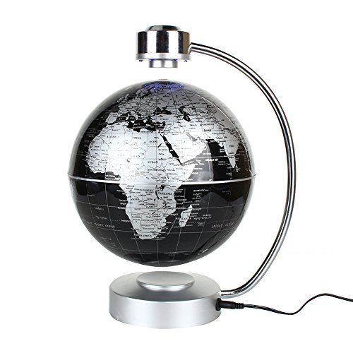 "Magnetic Levitation Floating World Map Globe, 8"" Rotating Planet Earth Globe Ball with LED Desk Display Stand -Elegance Levitation Globe Gift for Kids Home Office[Black] 0"