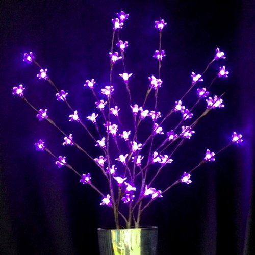 Lighted Branches With 60 Purple Led Flower Tips; Plug-In Ul Adapter And Cord