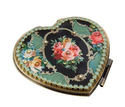 Michal Negrin Make-up Mirror with Multicolor Swarovski Crystals and Flower Print - Victorian Style