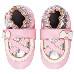Momo Baby Infant/Toddler Ballerina Pink/Silver Soft Sole Leather Shoes - 12-18 Months/4.5-5.5 M US Toddler