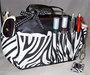 Click Here For Cheap Jolie Zebra Print And Black Handbag Organizer Insert Travel Cosmetic Make-up Bag Tote Dimensions: L 7.5