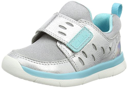 ClarksAth Cool Fst - Sneaker per neonati Unisex - Bimbi 0-24 , Grigio (Grau (Metallic Leather)), 24