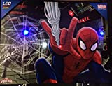 Edge Home Products Spider-Man Canvas with LED Lights, 12 by 16, Red