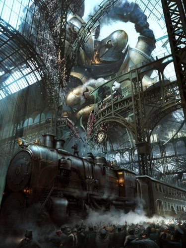Steampunk Painting Fantasy Art Rail Road Train