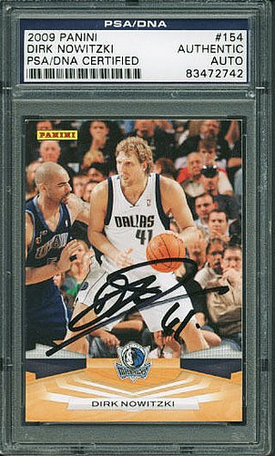 Psa/Dna Mavericks Dirk Nowitzki Authentic Signed Card 2009 Panini #154 - Certified Authentic