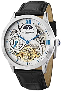Stuhrling Original Men's 571.33152 Special Reserve Automatic Skeleton Dual Time Black Leather Watch
