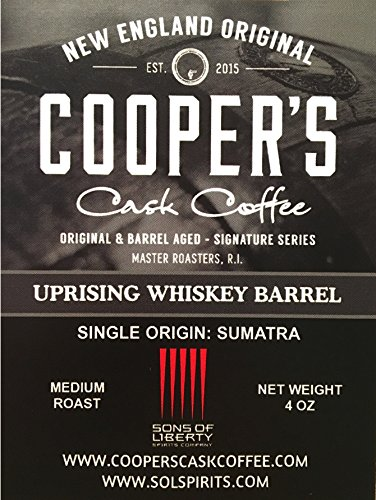 Whiskey & Rum Barrel Aged Coffee Beans Trio Coffee Gift Box Set by Cooper's Cask- Single Origin Coffee Beans (Sumatra, Ethiopia, Rwanda) - Three 4oz Bags