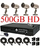 USA Security Store -- CCTV 4 Sharp CCD Day/Night Vision Color Cameras with one 4 Channels Video audio H.264 Security Surveillance DVR Digital Video Recorder System Built-in 500GB HDD, Included 4x65FT video cables and Power Supplies KIT. Supports Network Remote Viewing Over Internet, Windows IE, iPhone, Windows Mobile, and Apple Mac FireFox.