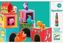 Djeco Stackable Cubes, Topanifarm (12 pc)  By Varios